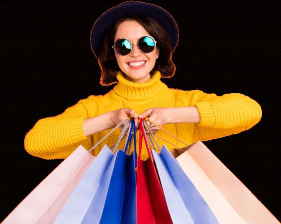 Frau-Shoppingtueten-GelberPulli-Jung